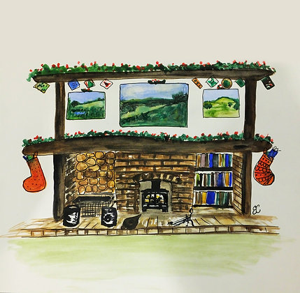 Pack of 5 Christmas Fireplace