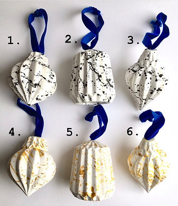 Black and Gold Paint Splattered Shaped Baubles