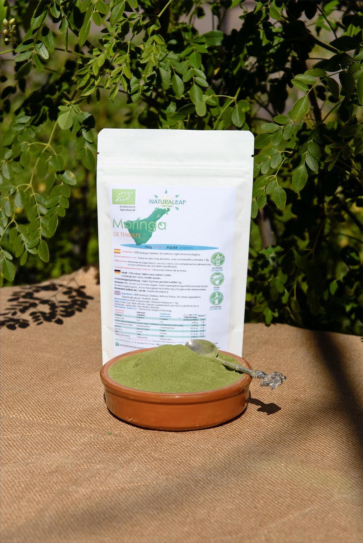 La Moringa Canaria NaturaLeaf en formato de polvo; ideal para cocinar.