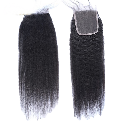 12A Virgin Kinky Straight Hair Lace Closure Virgin Indian Hair Closure