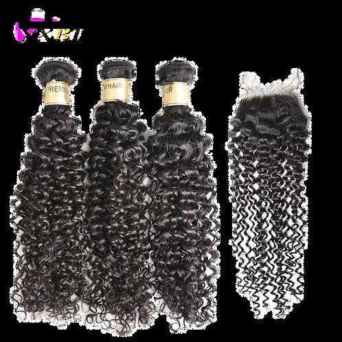 3 PCS Lot 12A Curly Hair With Closure Human Hair Free Shipping