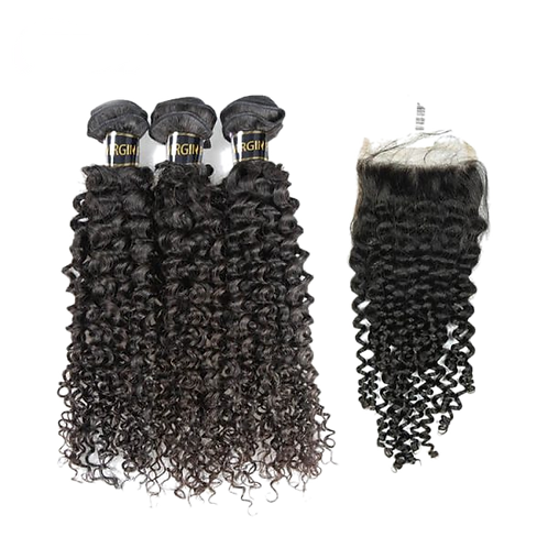 10A Curly Hair 3 Bundles With 4*4 Lace Closure Unprocessed Hair