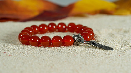 Crimson Charm Feather Bracelet