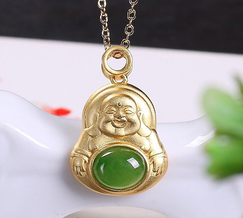 Maitreya Buddha pendant gold tone