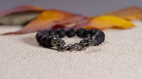 Dragon Shield Lava Stone Bracelet