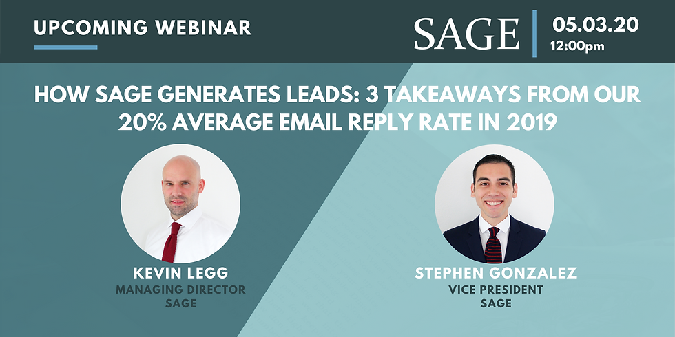 How SAGE Generates Leads: 3 Takeaways from Our 20% Average Email Reply Rate in 2019