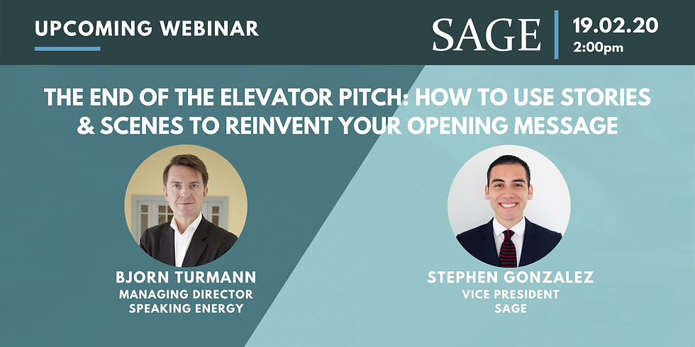 The End of the Elevator Pitch: How to Use Stories & Scenes to Reinvent Your Opening Message