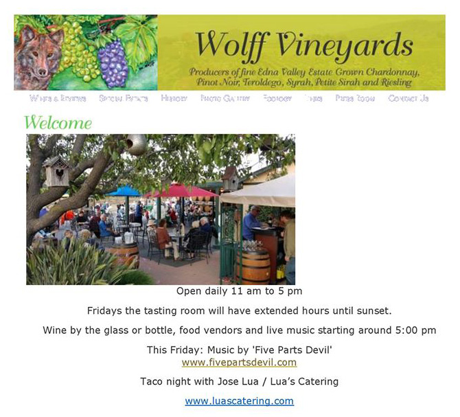 WOLFF VINEYARDS ANNOUNCEMENT