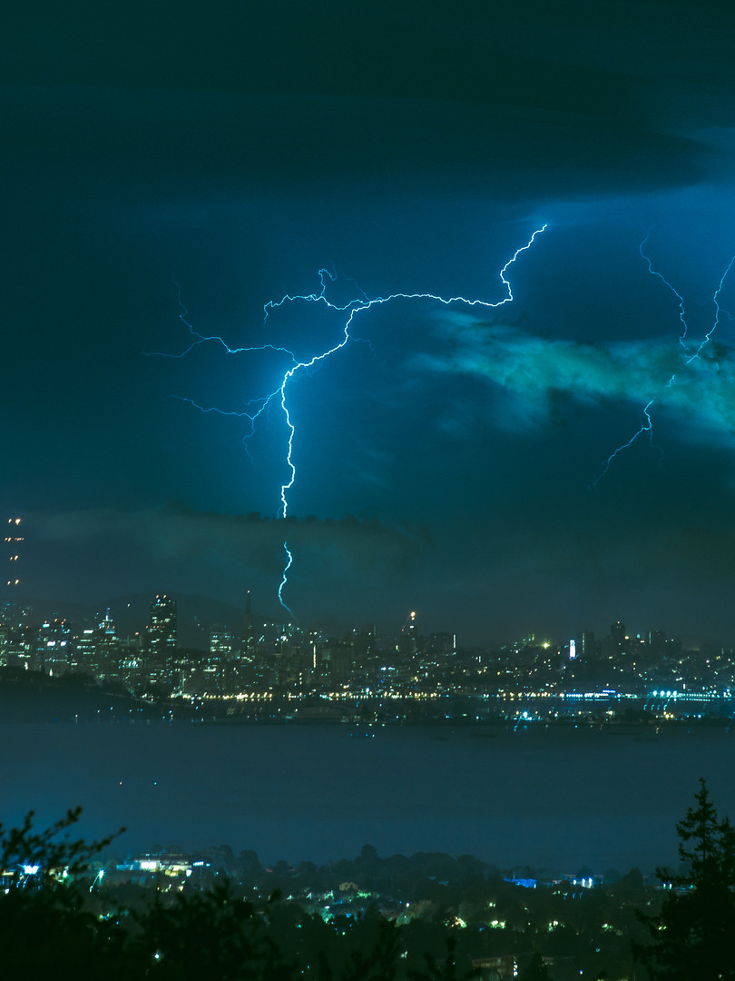 Bay Area lightning storm, August 2020. View of San Francisco from Berkeley, CA
