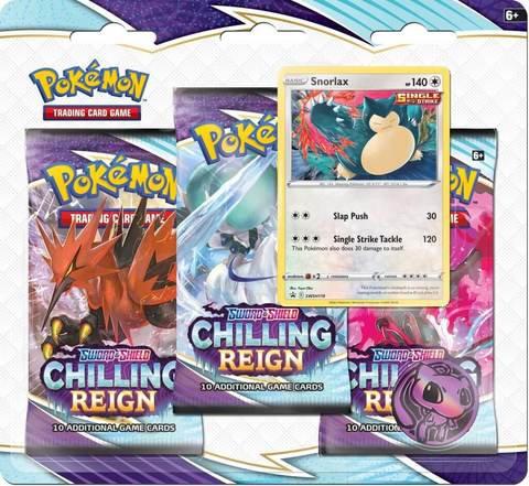 PRE ORDER Pokemon: Chilling Reign -3 pakke blister Snorlax
