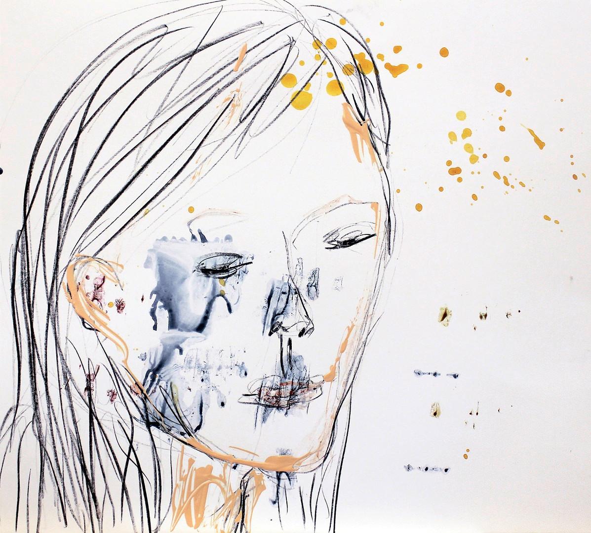 Graphit und Acryl auf Karton. 50x50 cm  2014, © Christa Redik