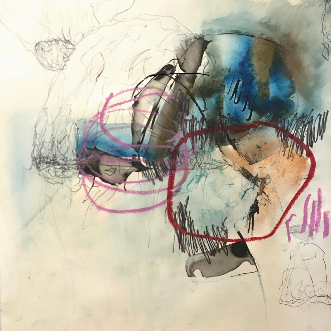 Pigmente mit Acrylbinder, Tusche, Graphit und Ölpastelle auf Steinpapier. 30x30 cm 2019 © Christa Redik
