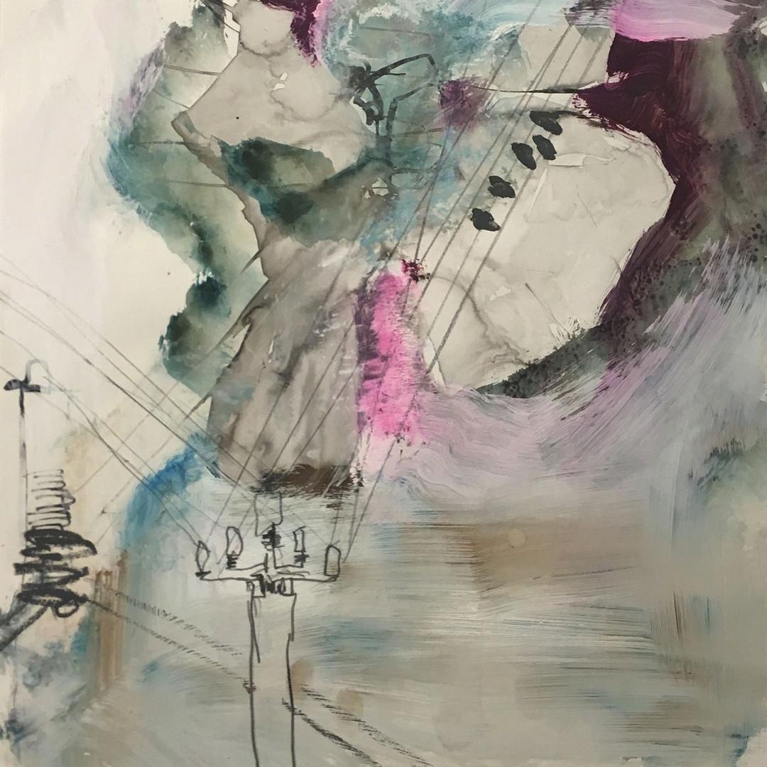 Pigmente mit Acrylbinder, Tusche, Graphit auf Steinpapier.  30x30 cm 2019 © Christa Redik