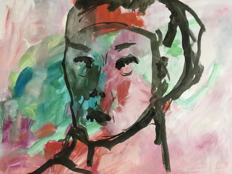 Pigmente mit Acrylbinder auf Papier. 70x50 cm  2020, © Christa Redik
