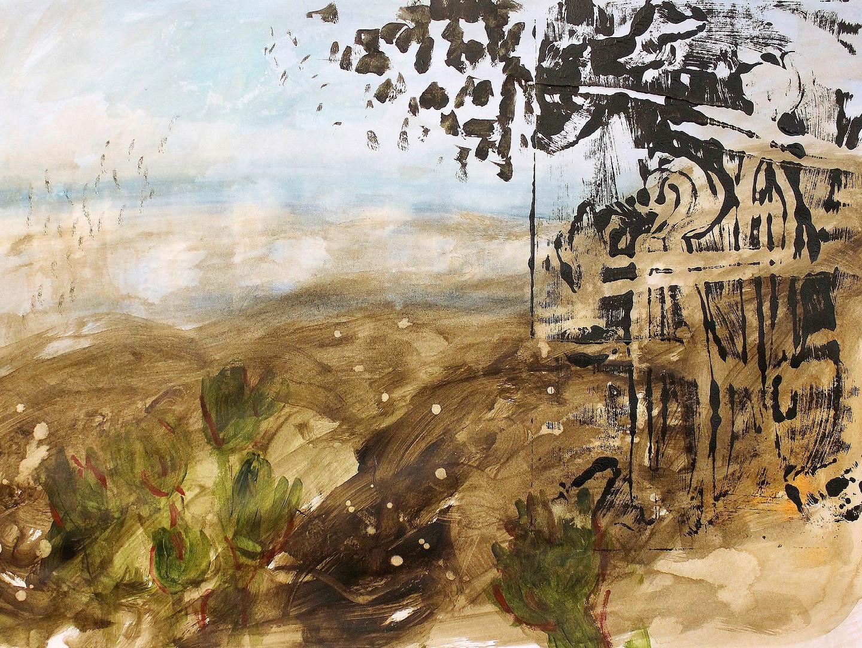 Acryl und Monoprint auf Papier. 70x50 cm 2013, © Christa Redik