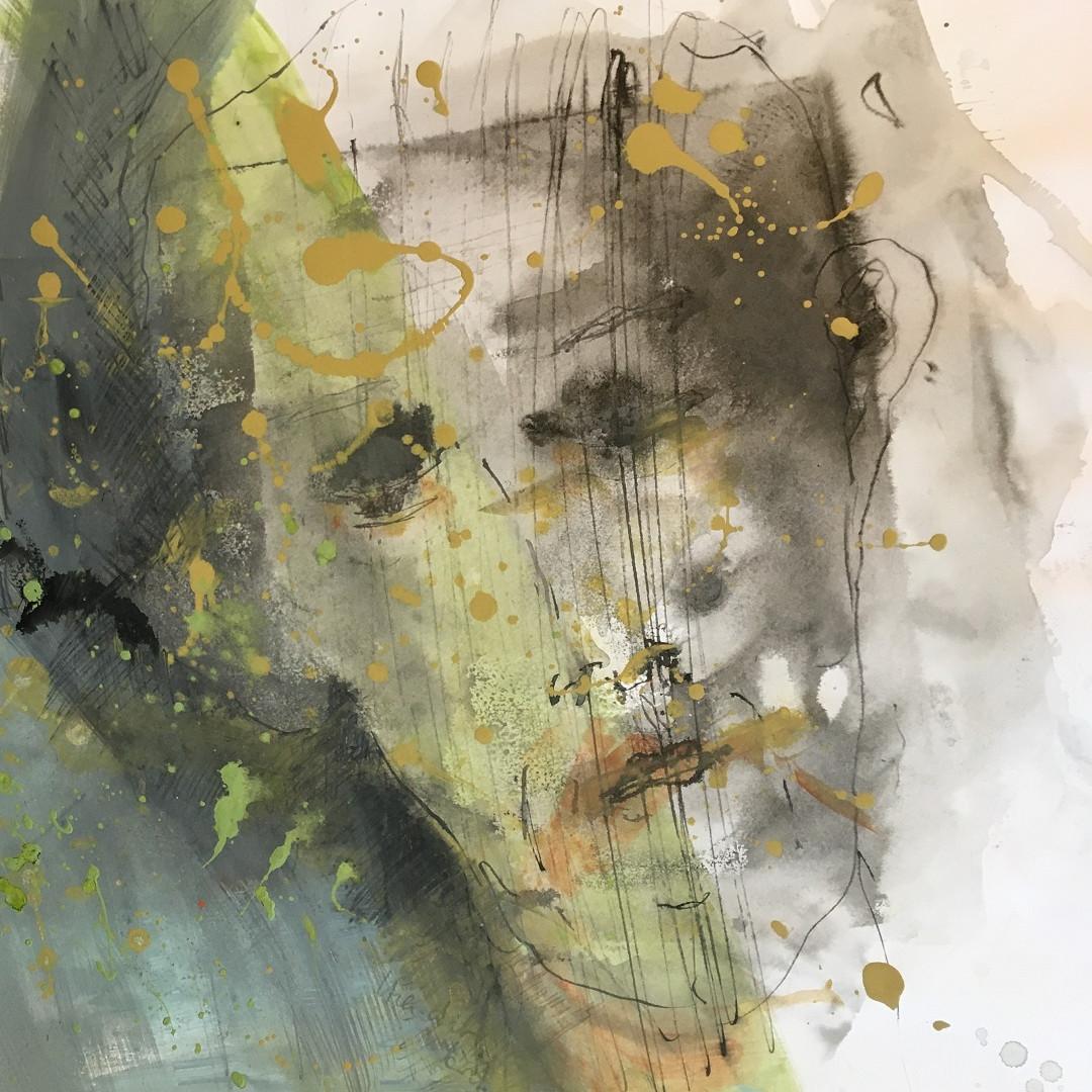 Acryl und Tusche auf Papier. 50x50 cm  2019, © Christa Redik