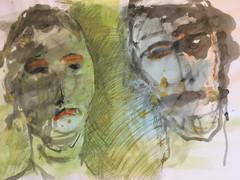 Tusche, Pigmente mit Acrylbinder auf Papier. 70x50 cm  2019, © Christa Redik