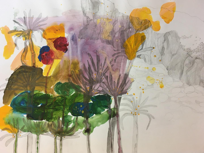 Bleistift und Acryl auf Papier. 70x50 cm  2014, © Christa Redik