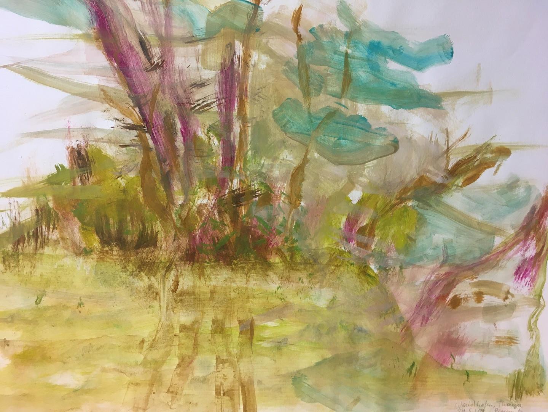 Pigmente mit Acrylbinder auf Papier. 70x50 cm  2019, © Christa Redik