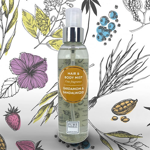 Hair and Body mist Pure Herbal Cardamom and Sandalwood 150 ml