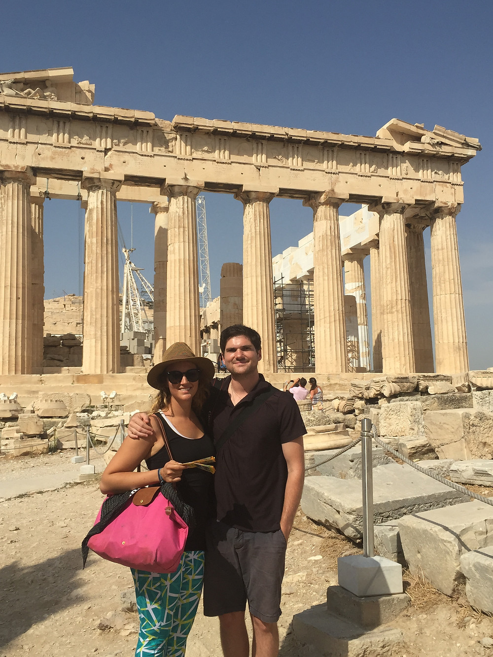 Christina and Eric in front of the Parthenon in Athens, Greece