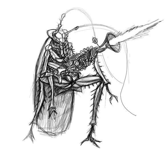 Roach with steampunk blunderbus.jpg