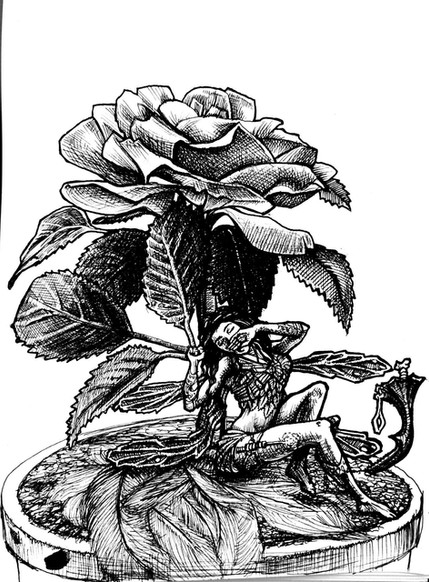 Ink sketch of a fairy yawning.jpg