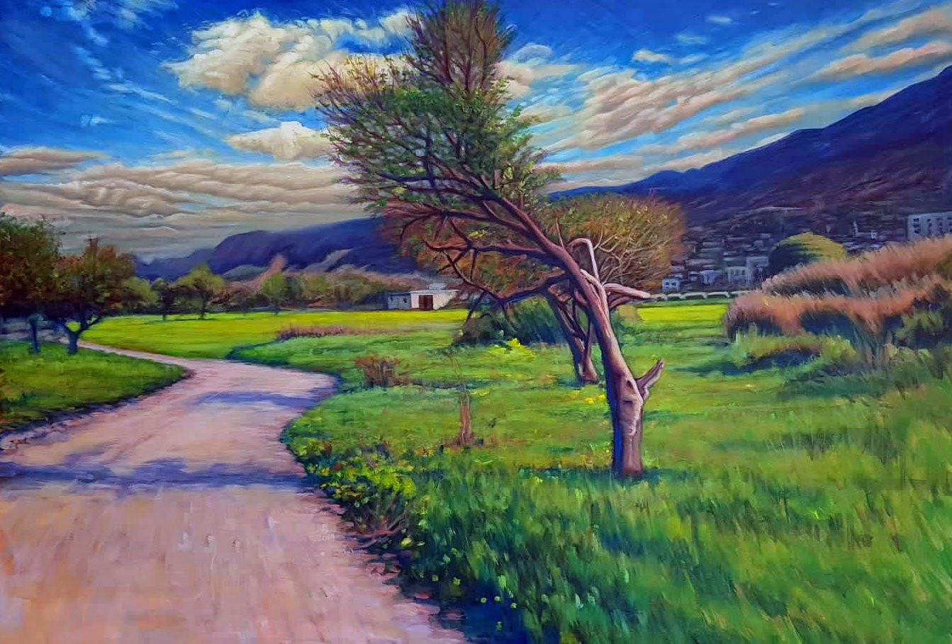 Landscape olive trees, green field, Five