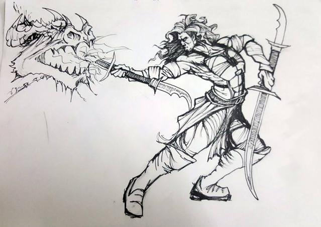 Fantasy warrior fighting monster.jpg
