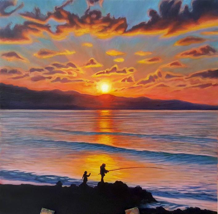Landscape Fishing on the Coast during Su