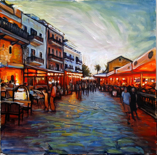 Girne harbour acrylic evening.jpg