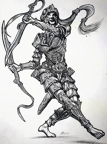 Fantasy Female Warrior Ink.jpg
