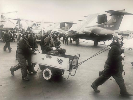 LtCdr Keith Harris departs after handing over as CO 849B in Nov 75.