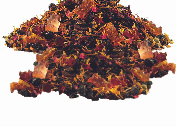 Früchtetee mit dem Zusatz Goldbärchen; aromatisierte Früchteteemischung; 522249