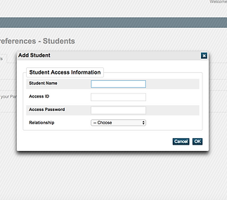 Empty Student Access Information Screen