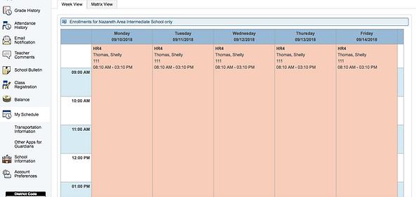 My Schedule Screen
