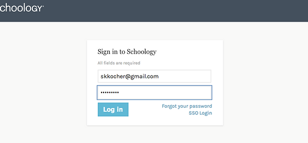Sign into Schoology