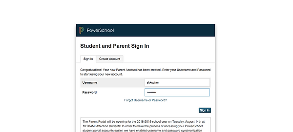 Log-in to PowerSchool