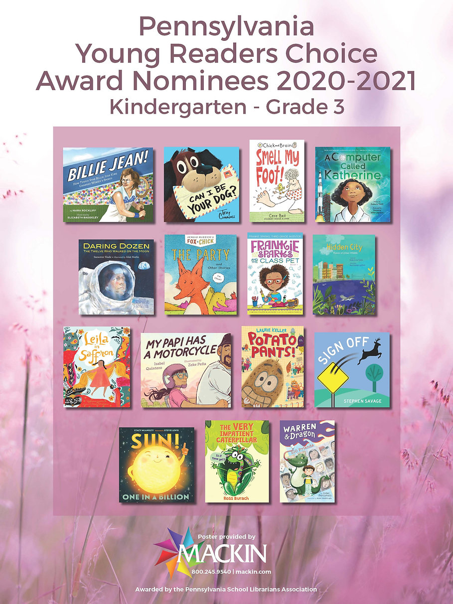 2020-2021 Pennsylvania Young Readers Choice Award Nominees Poster
