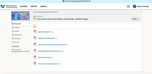 Open Folder View in Schoology