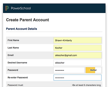 PowerSchool Filled Create Parent Account Info