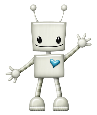 Robot with Blue Heart Clipart