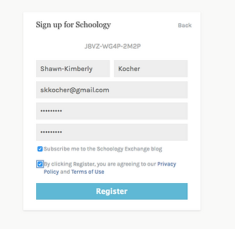 Sign Up for Schoology Info Page Filled