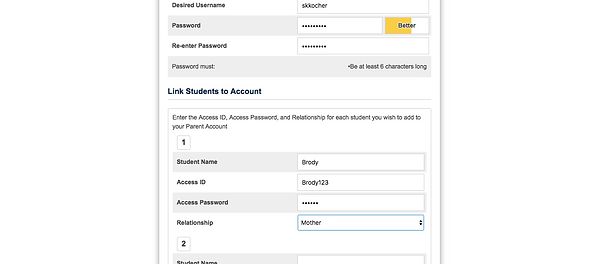 PowerSchool Enter Child's Access ID and Password