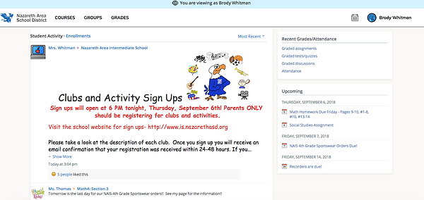 Schoology Home Screen - Child's View
