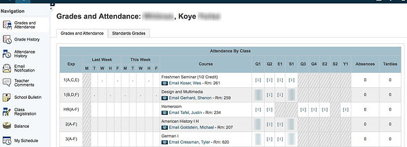 Grades and Attendance for Other Child