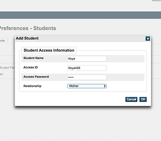Filled Student Access Information Screen
