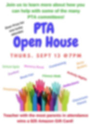 PTA Open House - September 13 at 7 PM