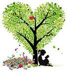 Girl readin under Tree