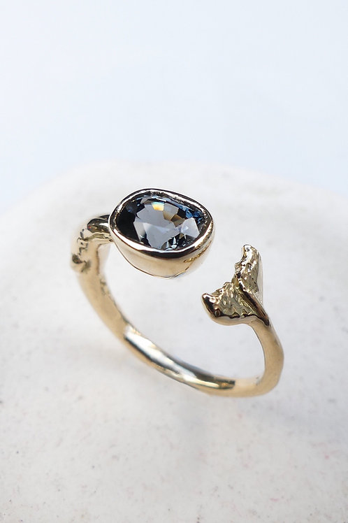 Handmade 14k Yellow Gold and Blue Grey Sapphire Whale Ring